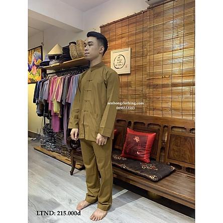 Đồ Bộ Đi Lễ Cư Sĩ Nam - quần áo Phật tử mặc nhà Lãnh tụ nam màu đồng vải mát mịn