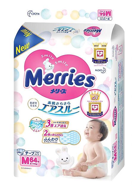 Bỉm dán Merries Size M64 mềm mịn, thấm hút nhanh (6-10kg) 64 miếng- Nội địa Nhật Bản