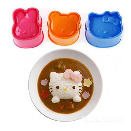 Bộ 3 khuôn làm cơm, làm bánh, tạo hình trứng cho bé hình thú 3 mẫu khác nhau, an toàn với người sử dụng+ Tặng kèm miếng dán tủ lạnh ngộ nghĩnh cho bé
