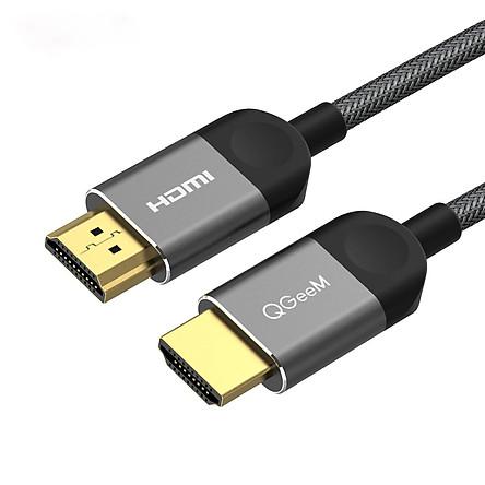 Cáp HDMI sang HDMI QGeeM hỗ trợ 4K*2K@60HZ UHD dây cáp bện nylon đầu mạ vàng hợp kim nhôm dài 2M-Hàng Chính Hãng