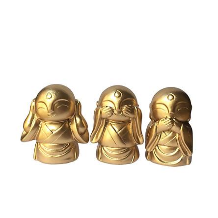 Tượng đá bộ ba chú tiểu tam không an nhiên - màu nhũ vàng