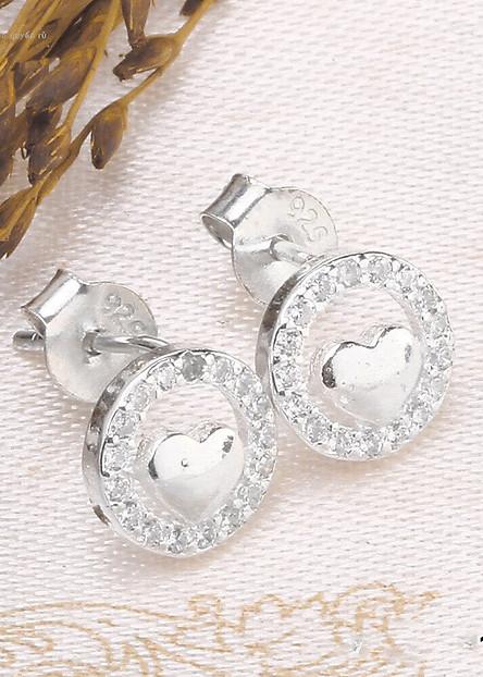 Bông tai bạc nữ trang sức bạc Ý S925 Bạc Xinh Huệ Ngân - Trái tim yêu thương RYE140811