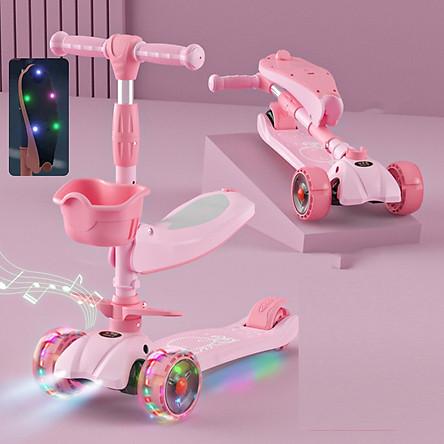 Xe scooter 3 bánh tự cân bằng, 3in1 có ghế gấp gọn, xe chòi chân thăng bằng , xe trượt 3 bánh có nhạc và đèn chiếu sáng