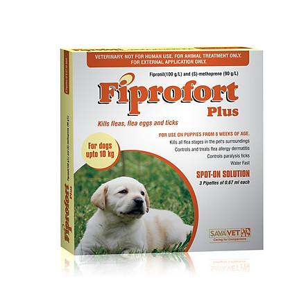 Sản phẩm trị bọ chét, ve chó cho chó dưới 10kg Fiprofort Plus 0.67 ml (hộp 3 tuýp)