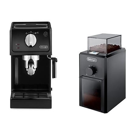 Combo máy xay cà phê Delonghi KG79 + máy pha cà phê Delonghi ECP31.21 (Giao bộ màu ngẫu nhiên) - Hàng Chính Hãng