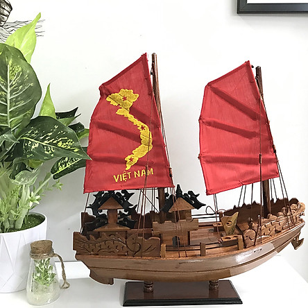 Mô Hình Thuyền Gỗ Hạ Long Rồng Thân 40cm (Gỗ Hương - Buồm Đỏ)