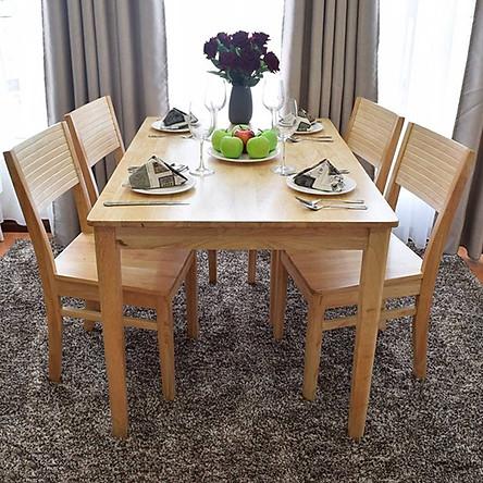 Bộ bàn ăn CR màu tự nhiên 4 ghế