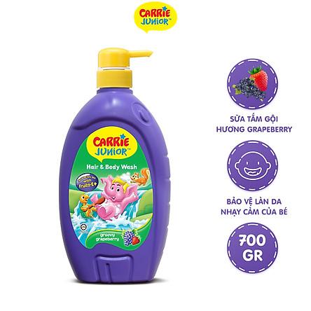 Sữa Tắm Gội cho bé Carrie Junior hương Grapeberry 700g