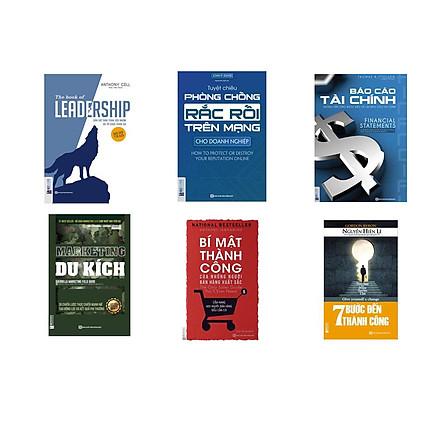 combo 6 cuốn sách :+ Báo cáo tài chính + Bí mật thành công của những người bán hàng xuất sắc + Marketing du kích + Dẫn dắt bản thân, đội nhóm và tổ chức vươn xa + Tuyệt chiêu phòng chống rắc rối trên mạng dành cho doanh nghiệp + Bảy bước tới thành công (tặng kèm sổ tay HC + bookmark )