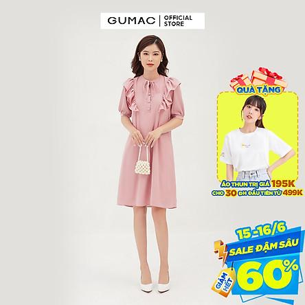 Đầm suông nữ thiết kế phối bèo vai GUMAC DB308