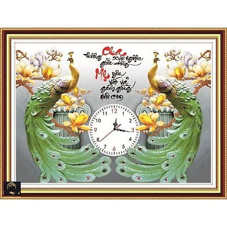 tranh đính đá đồng hồ Cha Mẹ - Đôi công xanh  - khách tự đính đá