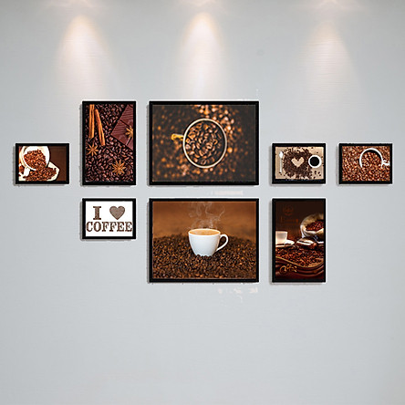 Bộ Khung Kính Treo Tường Treo Quán Cafe, Coffee Cực Đẹp Tặng Kèm bộ ảnh như hình mẫu, đinh treo tranh và sơ đồ treo - PGC242