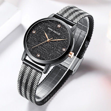 MINI FOCUS Women Quartz Watch Women's Fashion Watches with Steel Mesh Strap 30M Waterproof Female Wristbands for
