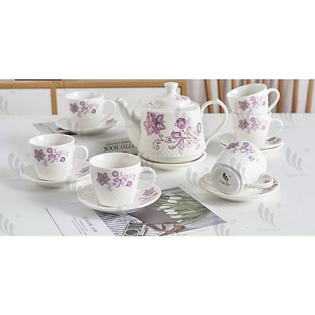 Bộ ấm chén pha trà sứ camelia kèm 7 đĩa lót tách ( Giao ngẫu nhiên ) - ANTH465
