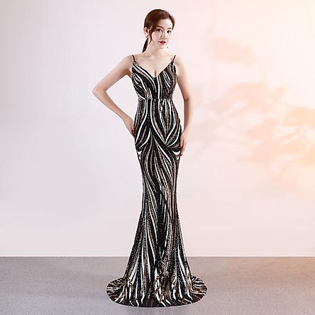 Đầm Dài Dạ Hội Hai Dây Cho Nữ Xi Diao