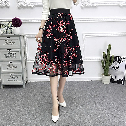 Chân váy nữ xòe 2 lớp họa tiết hoa lá cv17 (Free Size)