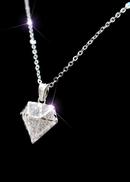Dây chuyền bạc  - Vòng cổ bạc nữ mặt kim cương 3D gắn pha lê [TS-DC-A16]
