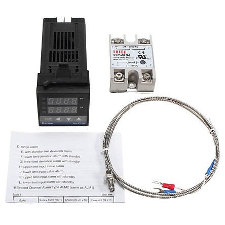 Bộ Điều Khiển Nhiệt Độ Kĩ Thuật Số LCD PID REX-C100 + Cặp Nhiệt Độ K (Max 40A)