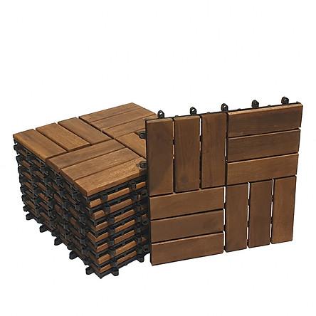 [Gỗ dày chuẩn 12mm] Combo 9 tấm ván sàn gỗ vỉ nhựa lót ban công sân vườn - Loại 12 nan đóng thùng carton chắc chắn