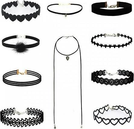 Bộ Vòng cổ Choker, vòng tattoo, dây đeo cổ nữ Cá tính và Thời trang