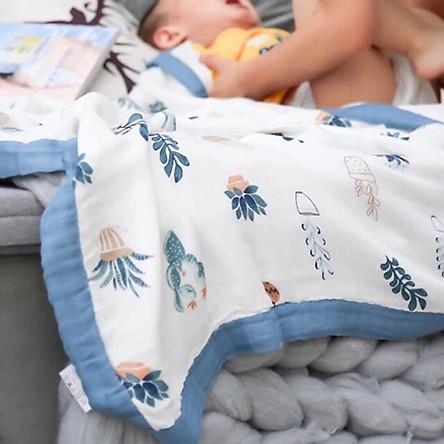 Chăn đắp - khăn tắm Sợi Tre Aden 4 Lớp Bo Viền Vải - Giao màu ngẫu nhiên