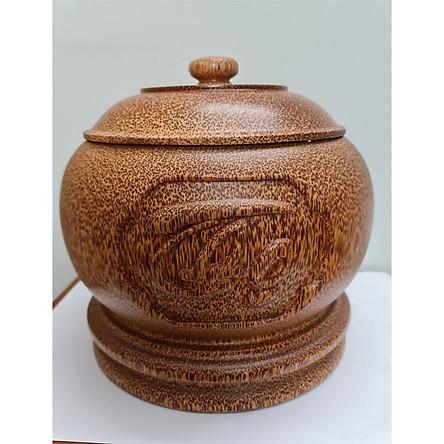 Vỏ đựng bình trà gỗ dừa Phúc Lộc Thọ loại đặc biệt