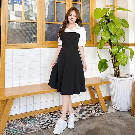 Đầm đen tay phồng phối trắng BEMINE MT1074DEN