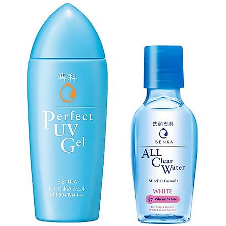 Combo Gel Sữa Chống Nắng Senka Perfect UV Gel 80ml Và Nước Tẩy Trang SENKA A.L.L. CLEAR WATER Micellar Formula White 70ml