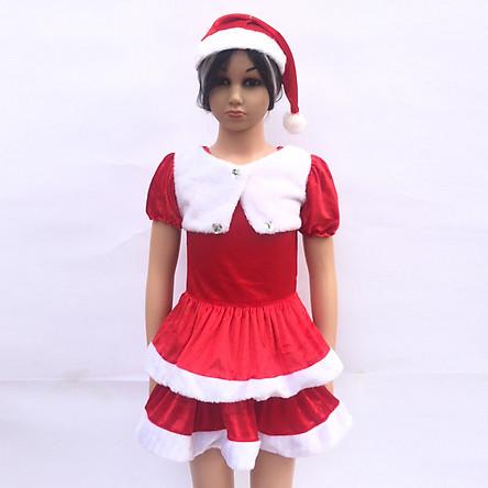 Set váy Noel 2 tầng kèm mũ cho bé từ 1- 8 tuổi