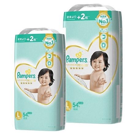 [Combo 2] Bỉm - Tã dán Pampers Premium New size L 54 miếng (Cho bé 9~14kg)