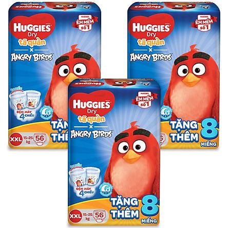 Combo 3 Gói Tã Quần Huggies Dry Gói Cực Đại Angry Birds phiên bản giới hạn XXL56 (56 Miếng) - Tặng 8 miếng