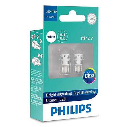 Bóng Đèn tín hiệu định vị, nội thất xe ô tô Philips Ultinon LED T10 11961ULWX2 12V 6000K - Trắng