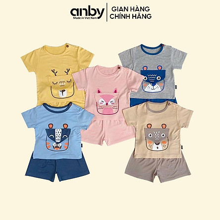 Quần áo trẻ em ANBY cho bé từ 1 đến 5 tuổi bộ cộc tay thun lạnh hình thú túi giữa xinh xắn