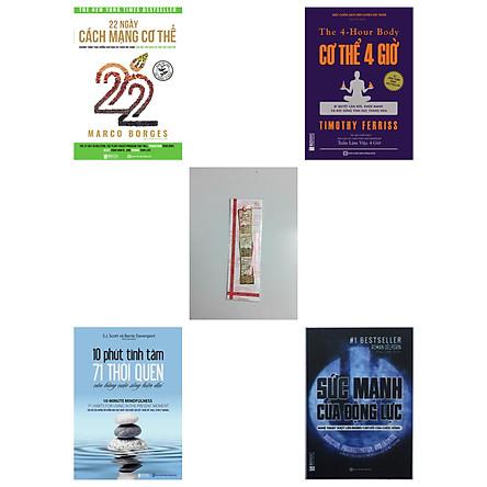Combo 4 cuốn:22 Ngày Cách Mạng Cơ Thể + Cơ thể 4 giờ – Bí quyết cân đối khỏe mạnh và đời sống tình dục thăng hoa + 10 phút tĩnh tâm – 71 thói quen cân bằng cuộc sống hiện đại + Sức mạnh của động lực – Nghệ thuật vượt lên những cám dỗ của cuộc sống (tặng book mark kim loại)
