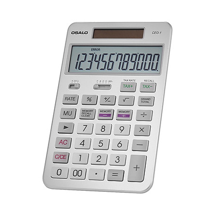 OSALO Desktop Calculator Tax Function Counter 12-Digits Solar & Battery Dual Power With Large LCD Display For Business