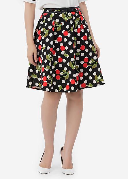 Chân Váy Nữ Xéo Hoa Chít Ly Phối Ruy Băng Nơ 9VN045