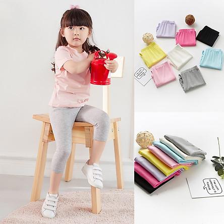 Quần legging lửng dài thun hè cotton cực mát bé gái 2-10 tuổi