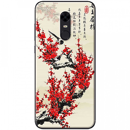 Ốp lưng dành cho Xiaomi Redmi 5 mẫu Hoa đào đỏ thư pháp