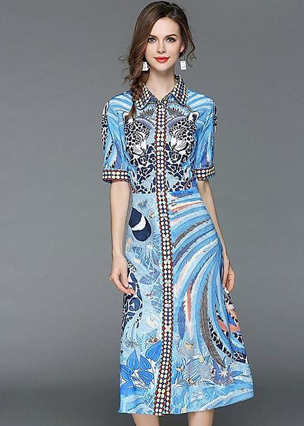 Đầm xòe dự tiệc kiểu đầm phong cách châu âu in họa tiết con báo GOTI1026380