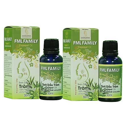 Combo 2 Tinh Dầu Tràm Cao Cấp 30ml - FML FAMILY - Dùng tinh dầu xông phòng giúp khử mùi, thanh lọc không khí, thư giãn, kháng khuẩn, giải cảm, xua đuổi côn trùng