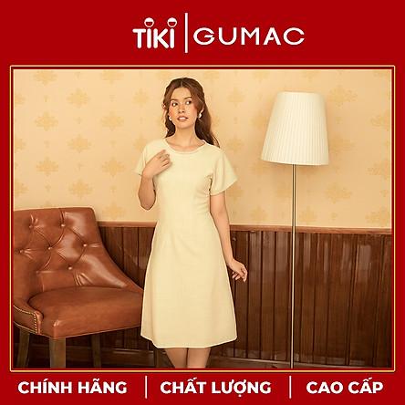 Đầm váy nữ DA10122 GUMAC thiết kế  cổ sen 2 nút