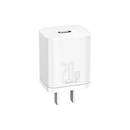 Adapter Sạc 1 Cổng USB Type-C 20W Baseus cho iPhone 12/12 Pro Max/12 Mini, 11 Pro Max/SE/XS/XR/8, iPad Pro, Pixel 3/4/5, Galaxy S10+/S10/S9, LG-White-Hàng chính hãng