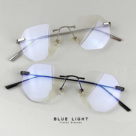 Kính Giả Cận Chống Ánh Sang Xanh, Chống Mỏi Mắt, Gọng Kính Cận Nam Nữ Không Viền Đa Giác Không Độ Hàn Quốc - BLUE LIGHT SHOP