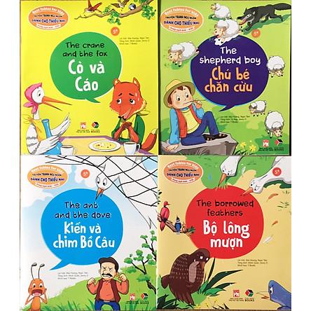 Combo 4 quyển Truyện tranh ngụ ngôn dành cho thiếu nhi ( Song Ngữ Anh - Việt )cò và cáo+ chú bé chăn cừu+ kiến và chim bồ câu+ bộ lông mượn