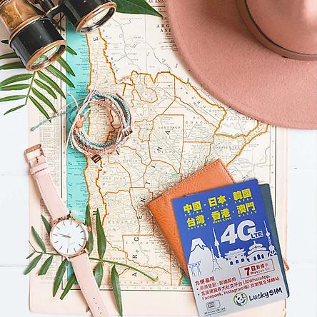 Sim du lịch 6 nước Trung Quốc, Nhật Bản, Hàn Quốc, Đài Loan, Hồng Kông 4GB tốc độ cao 7 ngày Lucky SIM