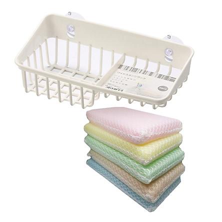 Combo Giá để giẻ rửa bát 2 ngăn dạng lưới màu trắng Inomata + Set 5 miếng xốp rửa bát bọc lưới nội địa Nhật Bản