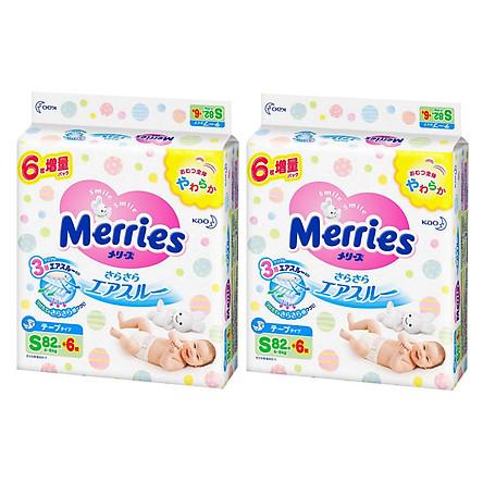 Combo 2 Gói Tã Dán Merries Size S82+6