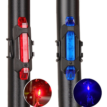 Bộ 2 Đèn LED Gắn Phía Sau Cảnh Báo Ban Đêm Có Sạc Điện USB Chống Nước Cho Xe Đạp Giúp Đạp Xe An Toàn 4 Chế Độ Sáng (Đèn Đỏ và Xanh) Mai Lee
