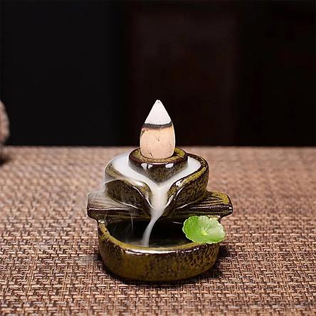 [Chọn mẫu] Thác khói trầm hương để bàn đế cắm nhang tăm đặt nhang vòng gốm sứ