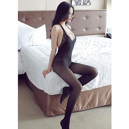 Bộ Cosplay liền thân vải mịn hở lưng Màu đen mã số 03 8007
